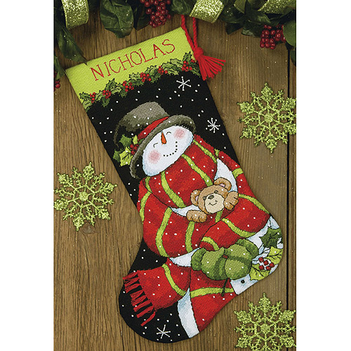 "Snowman & Bear Stocking Needlepoint Kit, 16"" Long Stitched In Floss"