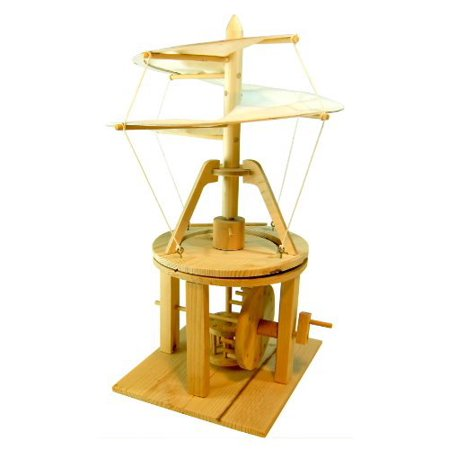 Pathfinders Leonardo da Vinci Premium Aerial Screw (Helicopter Flying Machine) Wood Model Kit Helicopter Training Kit