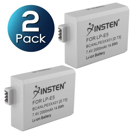 2 Pack Insten Canon LP-E5 Compatible Li-Ion Battery For EOS Rebel Xsi XS T1i 450D 500D 1000D Kiss F X2 X3