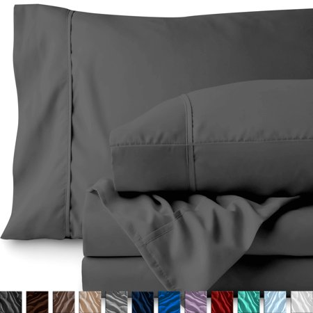 Premium 1800 Ultra-Soft Microfiber Collection Sheet Set - Double Brushed - Hypoallergenic - Wrinkle Resistant - Deep Pocket (Queen, Gray)