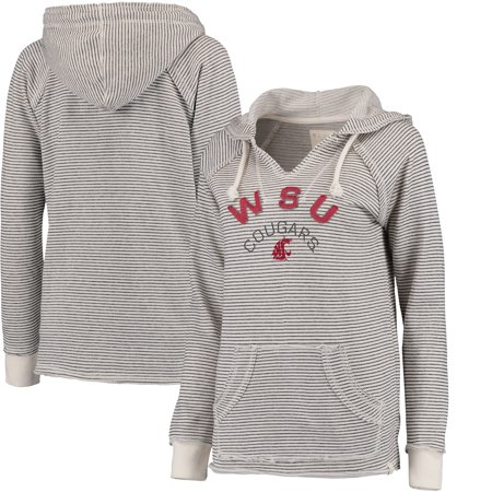 Washington State Cougars Blue 84 Women's Striped French Terry V-Neck Hoodie - Cream