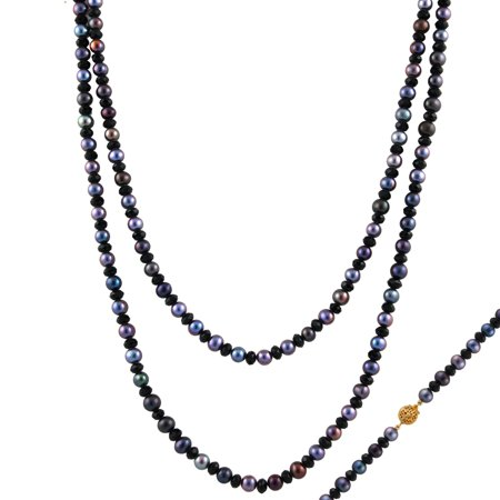 "Handpicked A Quality 6-7mm Black Freshwater Cultured Pearls and Faceted Beads Strand Endless 52"" Necklace"