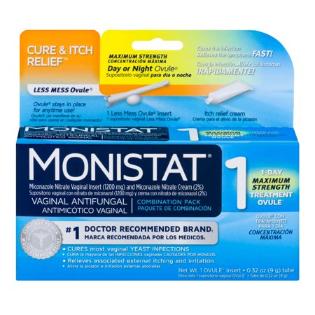 Feminine Relief - Monistat 1 Vaginal Antifungal 1-Day Maximum Strength Treatment Ovule Combination Pack Cure & Itch Relief