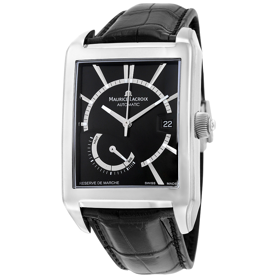 Maurice Lacroix Pontos Automatic Black Dial Black Leather Mens Watch PT6217-SS001-330