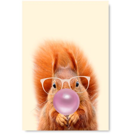 Awkward Styles Squirrel Blowing Pink Bubble Gum Poster Squirrel Kids Room Decor Funny Squirrel Poster Bubble Gum Fine Art Print Cute Squirrel Painting for Home Cute Animals Printed