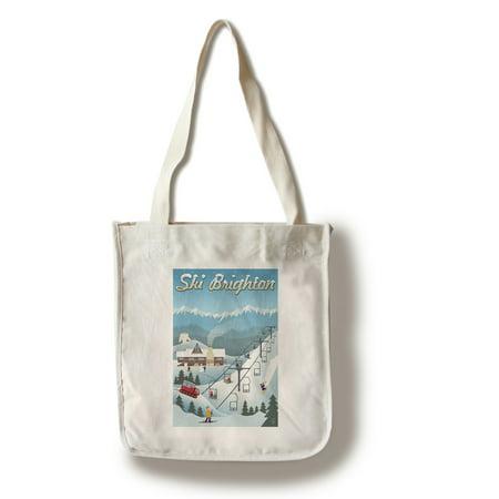 Brighton, Utah - Retro Ski Resort - Lantern Press Artwork (100% Cotton Tote Bag -