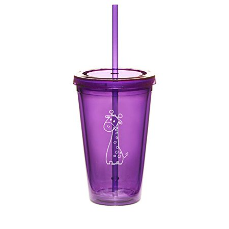 16oz Double Wall Acrylic Tumbler Cup With Straw Cute Giraffe (Purple) - Photo Acrylic Tumbler With Straw