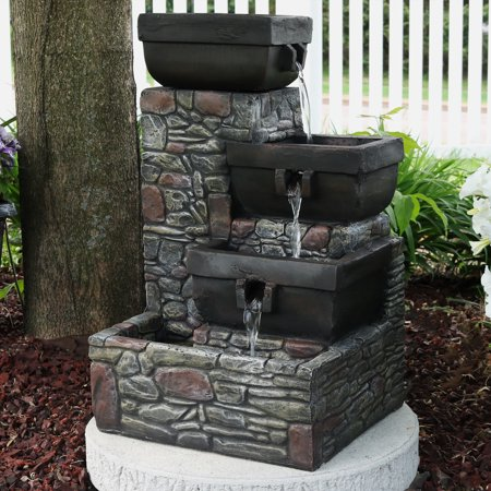 Sunnydaze 4-Tier Cascading Outdoor Waterfall Fountain with LED Lights, Patio and Garden Water Feature, Stacked Stone Square Bowls, 22-Inch -