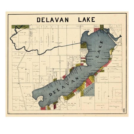 1921, Delavan Lake, Wisconsin, United States Antique Vintage Map Print Wall (Antiques And The Arts)