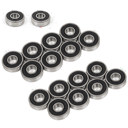 (20 Pack) Precision 608-2RS Bearings, Double Shielded for Skateboards, Longboards, Spinners, Idustrial, etc. (Non-Lubricated) - Pack Skateboard Fingerboard