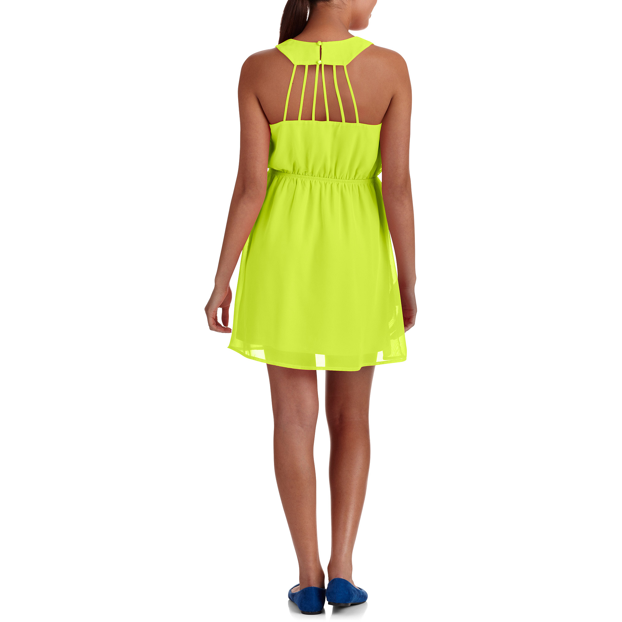 No Boundaries Juniors Strap Back Chiffon Dress