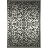Mainstays India Medallion Textured Print Area Rug and Runner Collection, Gray Tonal, 7' x 10'