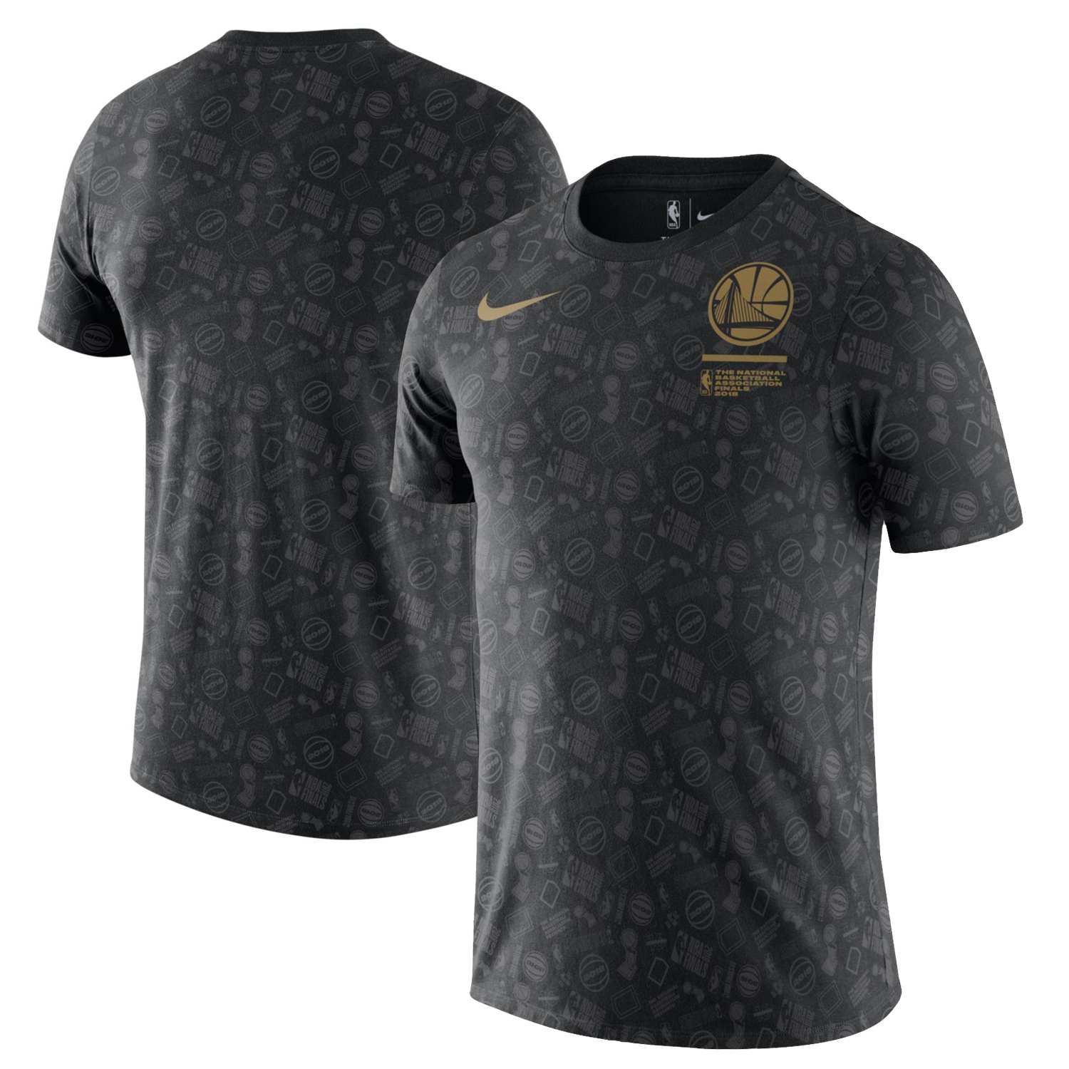 Golden State Warriors Nike 2018 NBA Finals Bound All Over Print Cotton Performance T-Shirt - Black