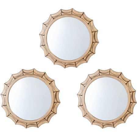 elements gold flare round wall mirrors set of 3 12. Black Bedroom Furniture Sets. Home Design Ideas