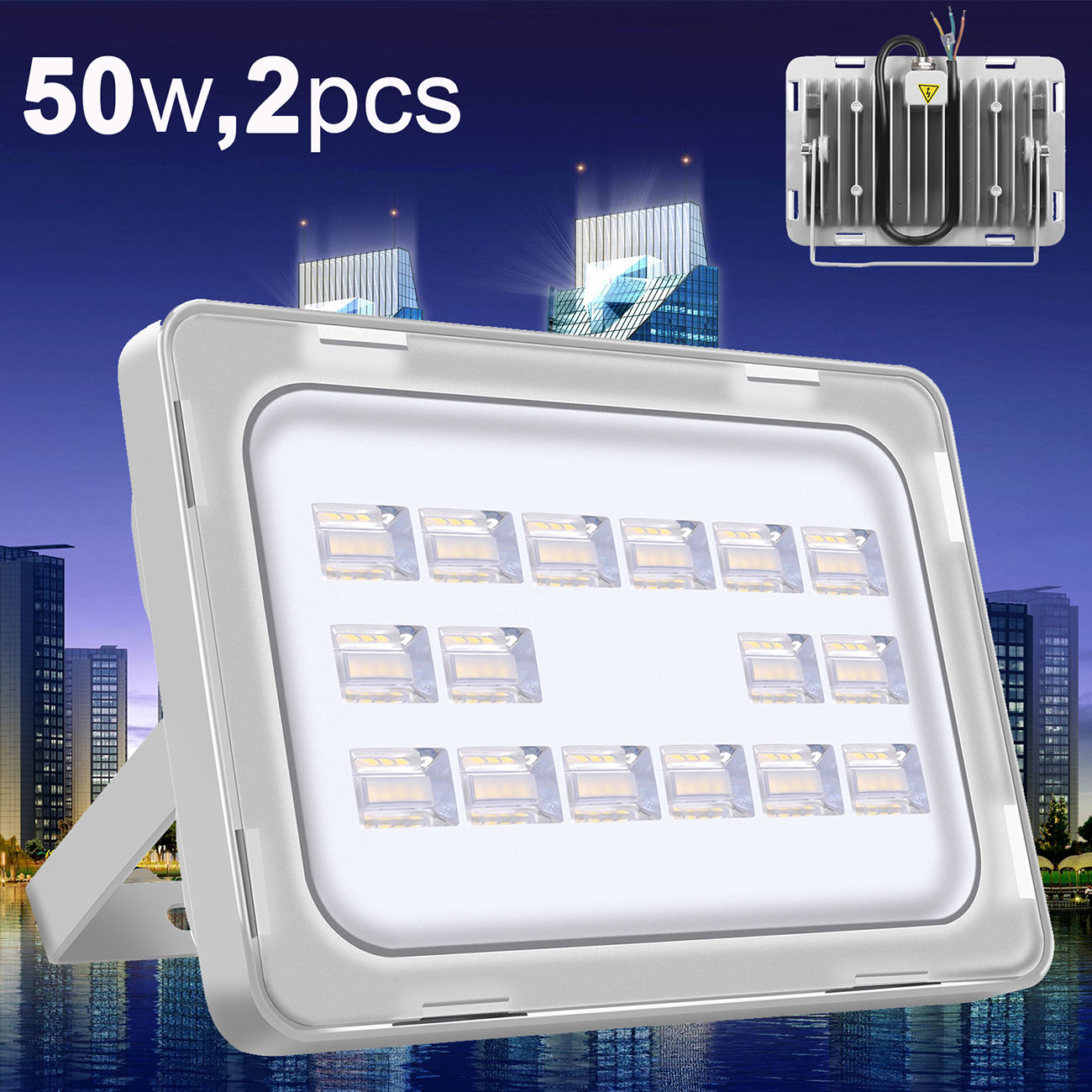 2X Viugreum 50W LED Floodlight Outdoor Yard Wall Lamp Cool Day White Waterproof