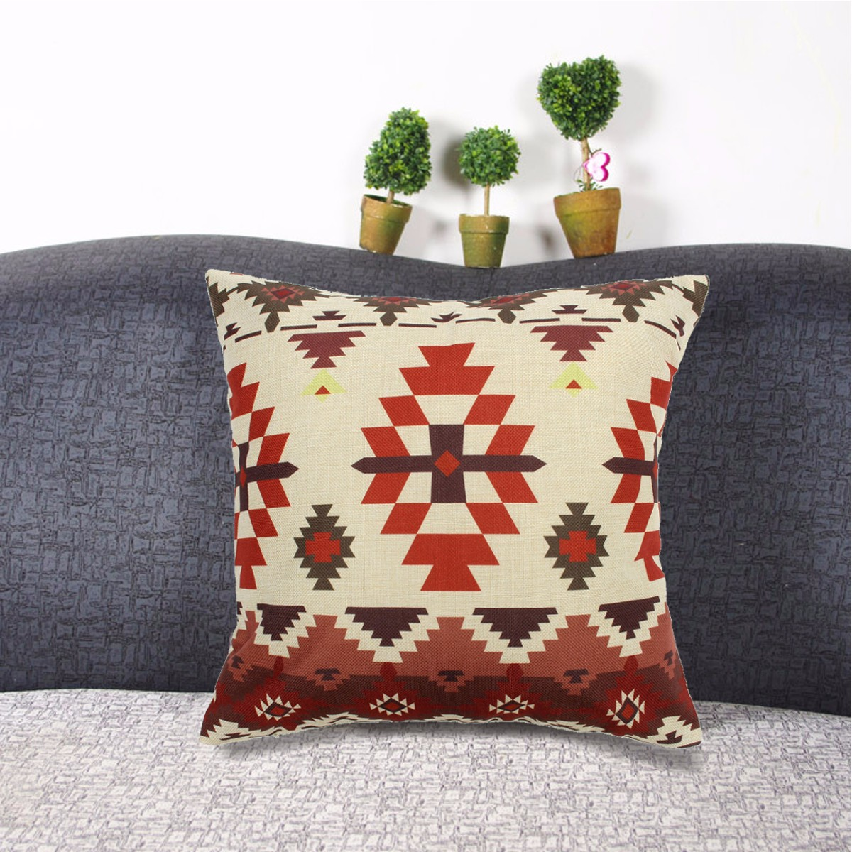 Aztec Geometric Abstract Linen Cotton Cushion Cover Throw Pillow Home Decor ,#3 color by