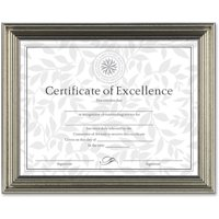 DAX Antique Colored Document Frame w/Certificate, Plastic, 8 1/2 x 11, Silver