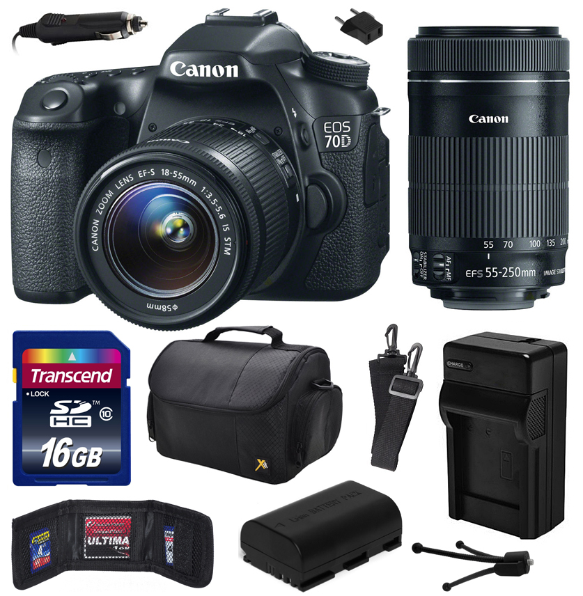 Canon EOS 70D Digital SLR Camera with 18-55mm STM and EF-S 55-250mm f/4-5.6 IS STM Lens includes 16GB Memory + Large Case + Extra Battery + Travel Charger + Memory Card Wallet + Cleaning Kit 8469B009