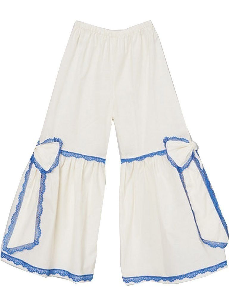 Girls Ivory Blue Scalloped Lace Trim Bow Accent Flare Pants 7-10