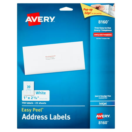 Avery 8160 Easy Peel White Inkjet Address Labels, 750 count