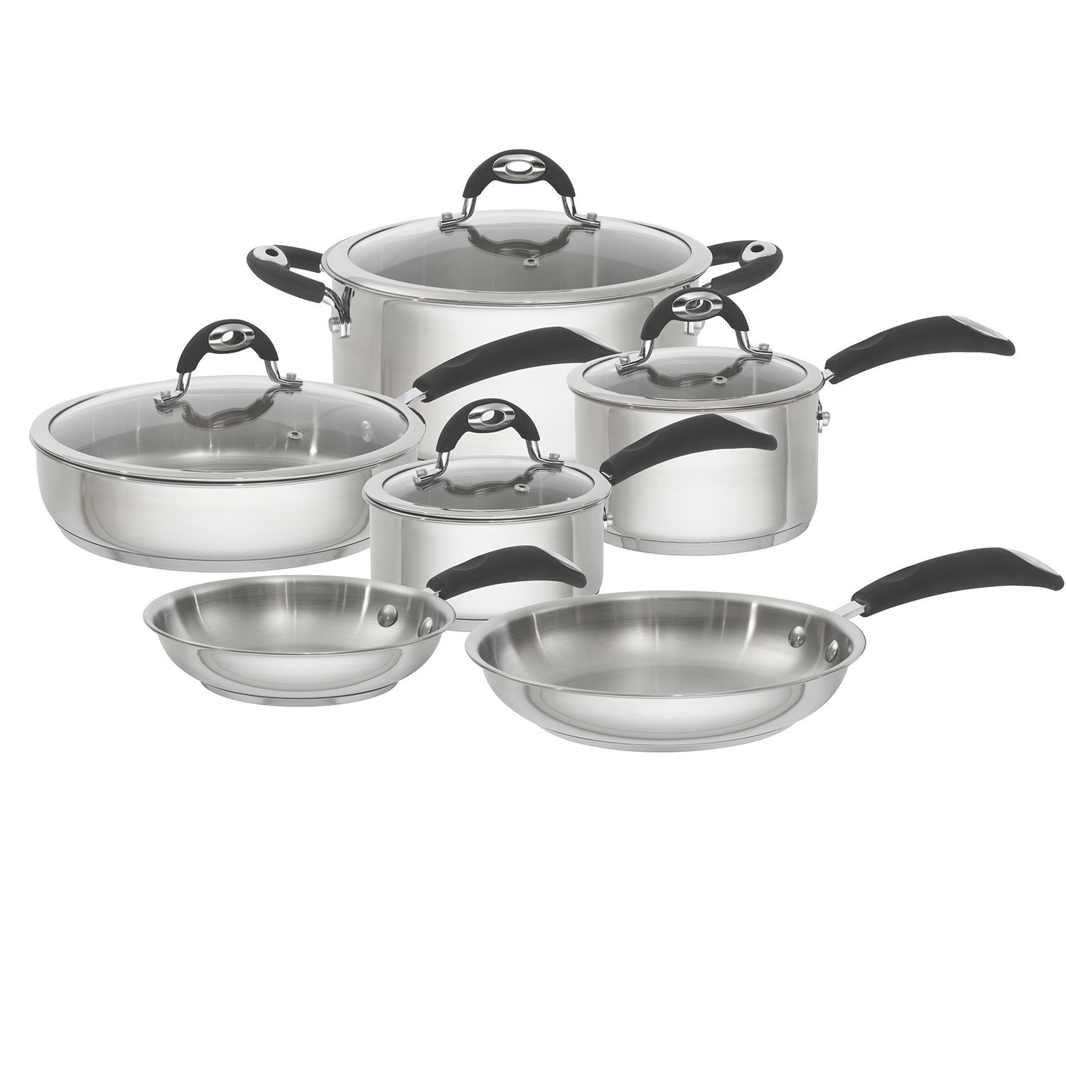 Bialetti Xpert 10 Piece Stainless Steel Nonstick Cookware Set, Silver by