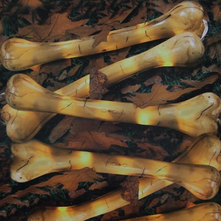 Set of 6 Pre-Lit Beige Bones Halloween Yard Art Decorations