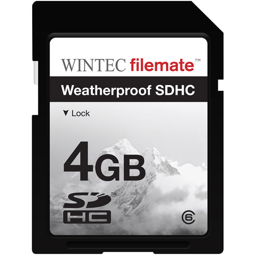 Wintec Filemate 4GB Class 6 SDHC Weatherproof Memory Card, Assorted Colors