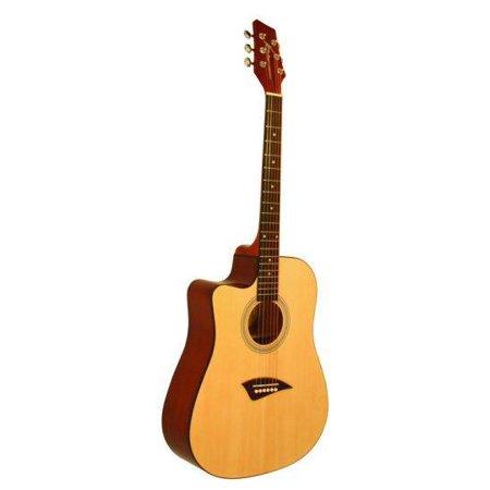 Kona K1L Left-Handed Acoustic Dreadnought Cutaway Guitar in Natural High Gloss Finish (Acoustic Guitar Gloss Natural)