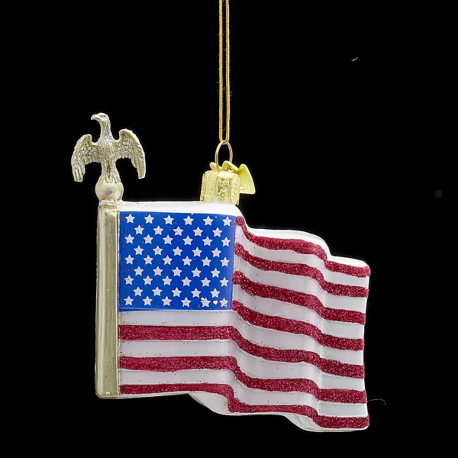 """Pack of 8 Noble Gems Glittered Glass American Flag Christmas Ornaments 4"""""""