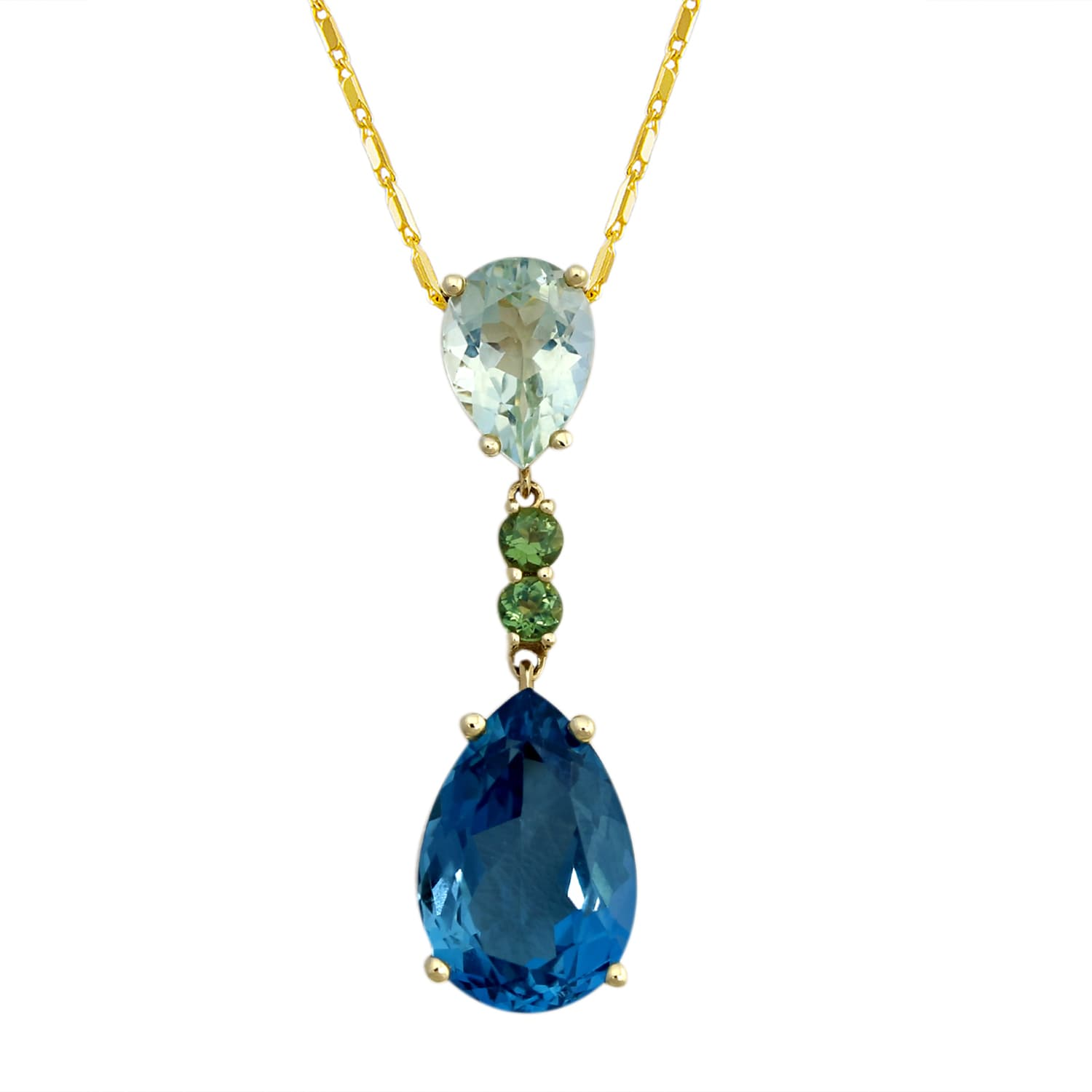 BHC 14k Yellow Gold London Blue Topaz Green Tourmaline and Green Amethyst Necklace by Overstock