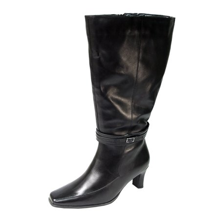 PEERAGE Brook Women Wide Width Leather Knee High Boots for All Occasions
