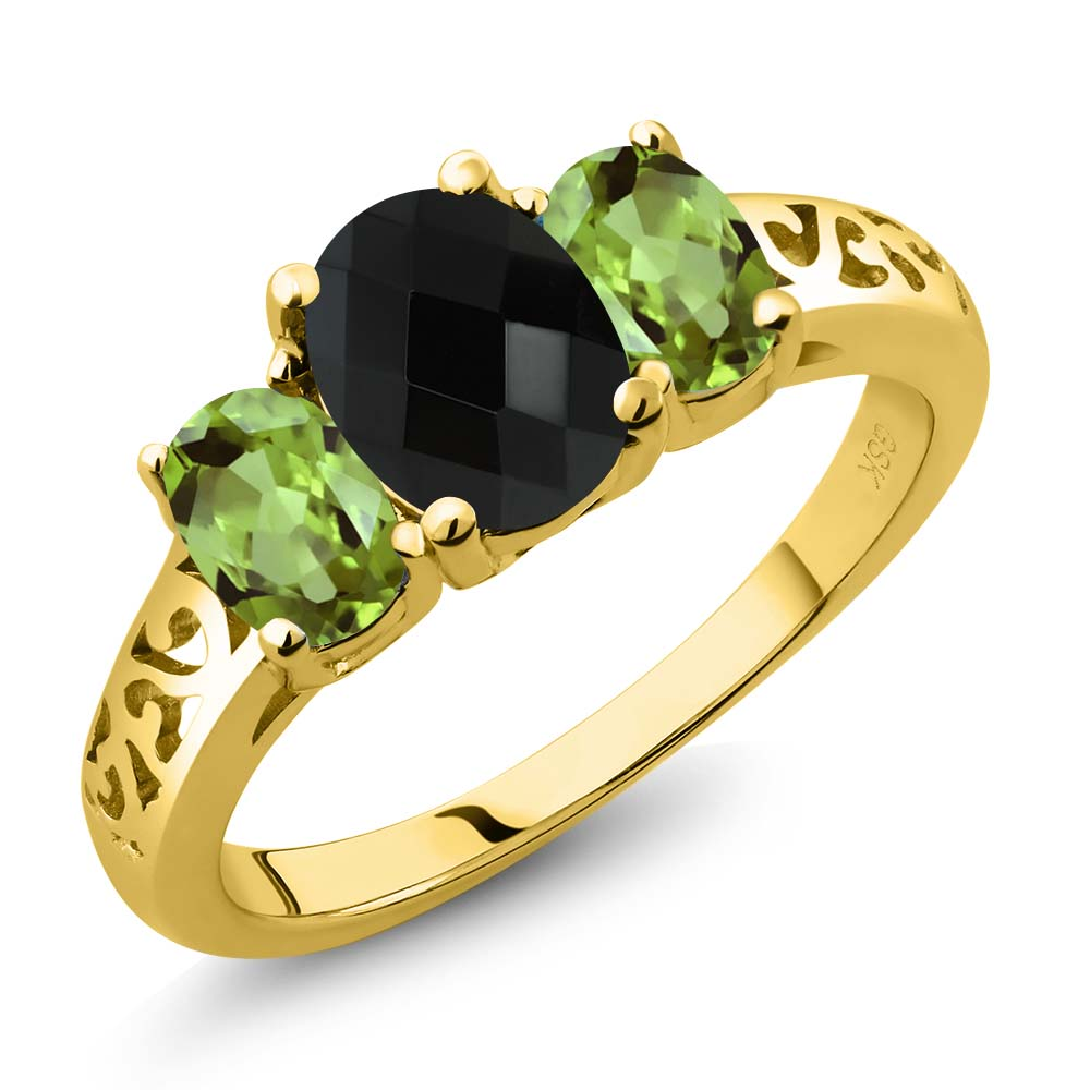 2.12 Ct Oval Checkerboard Black Onyx Green Peridot 18K Yellow Gold Plated Silver 3-Stone Ring