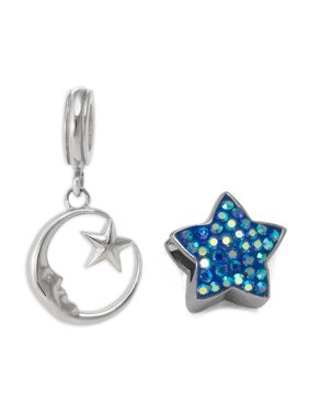 Crystal Stainless Steel Moon and Star Charm Set