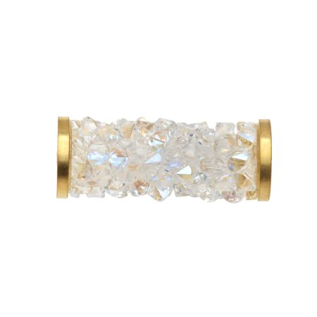 Gold Rock Crystal (Swarovski Crystal, #5950 Fine Rocks Tube Bead 15mm, 1 Piece, Crystal Moonlight / Gold Plated)