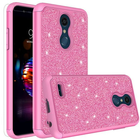 LG K30 Case, LG Premier Pro LTE Case, LG K10 2018 Case, Glitter Bling Cute Shock Proof Phone Case Cover with [HD Screen Protector] for Girls Women - Hot Pink Pro Cue Cases