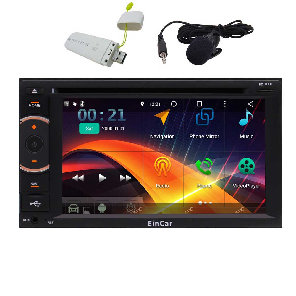 HD 6.2'' 1024x600 Touch Screen Car DVD Player EinCar Android 5.1 Octa-Core 2GB RAM Car Stereo with GPS... by EinCar