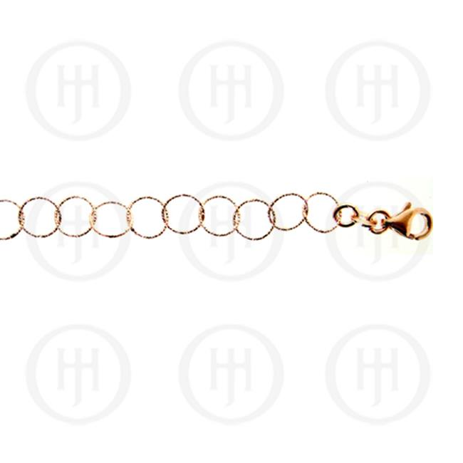 Doma Jewellery MAS04181-36 Sterling Silver -Fancy Fancylink Round Rose Colour Chain 7.5mm -DLCG 36 inches