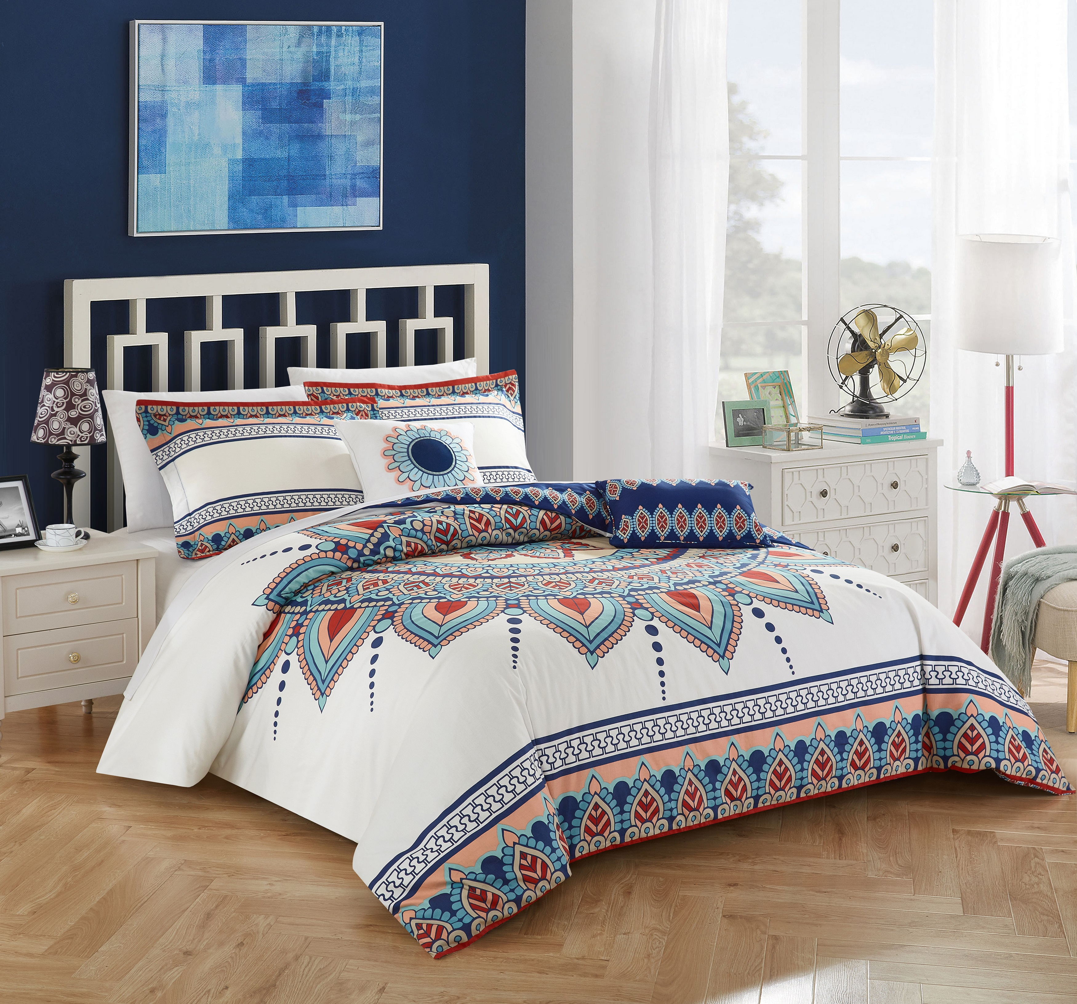 Chic Home 5-Piece Izta 100% Cotton 200 Thread Count Extra Large Panel Frame Boho Printed REVERSIBLE Queen Comforter Set Blue