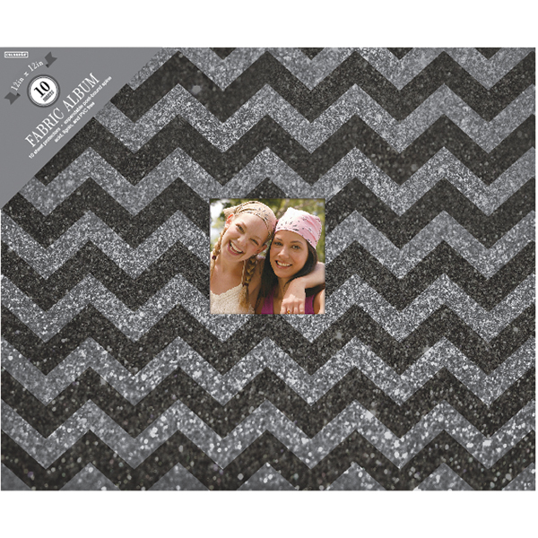 "Colorbok 3-Ring Glitter Album with Window, 12"" x 12"", Black Chevron"
