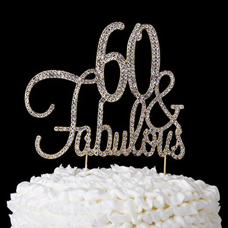 60 & Fabulous Cake Topper 60th Birthday Party Supplies Gold Decorations (Gold) (Birthday Cake Supplies)