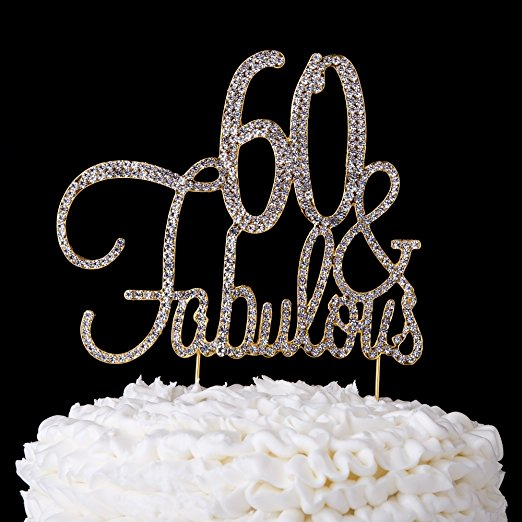 60 & Fabulous Cake Topper 60th Birthday Party Supplies Gold Decorations (Gold)