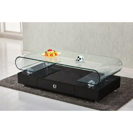 Best Quality Furniture Coffee Table with Top Round Shape Clear Glass & Storage Drawer Multiple