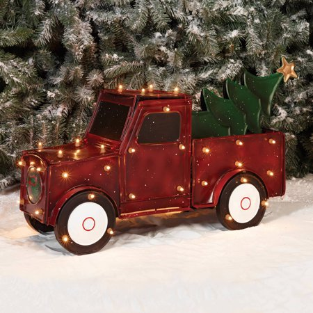 holiday time christmas decor 32 3d metallic truck with tree sculpture - Christmas Truck Decor