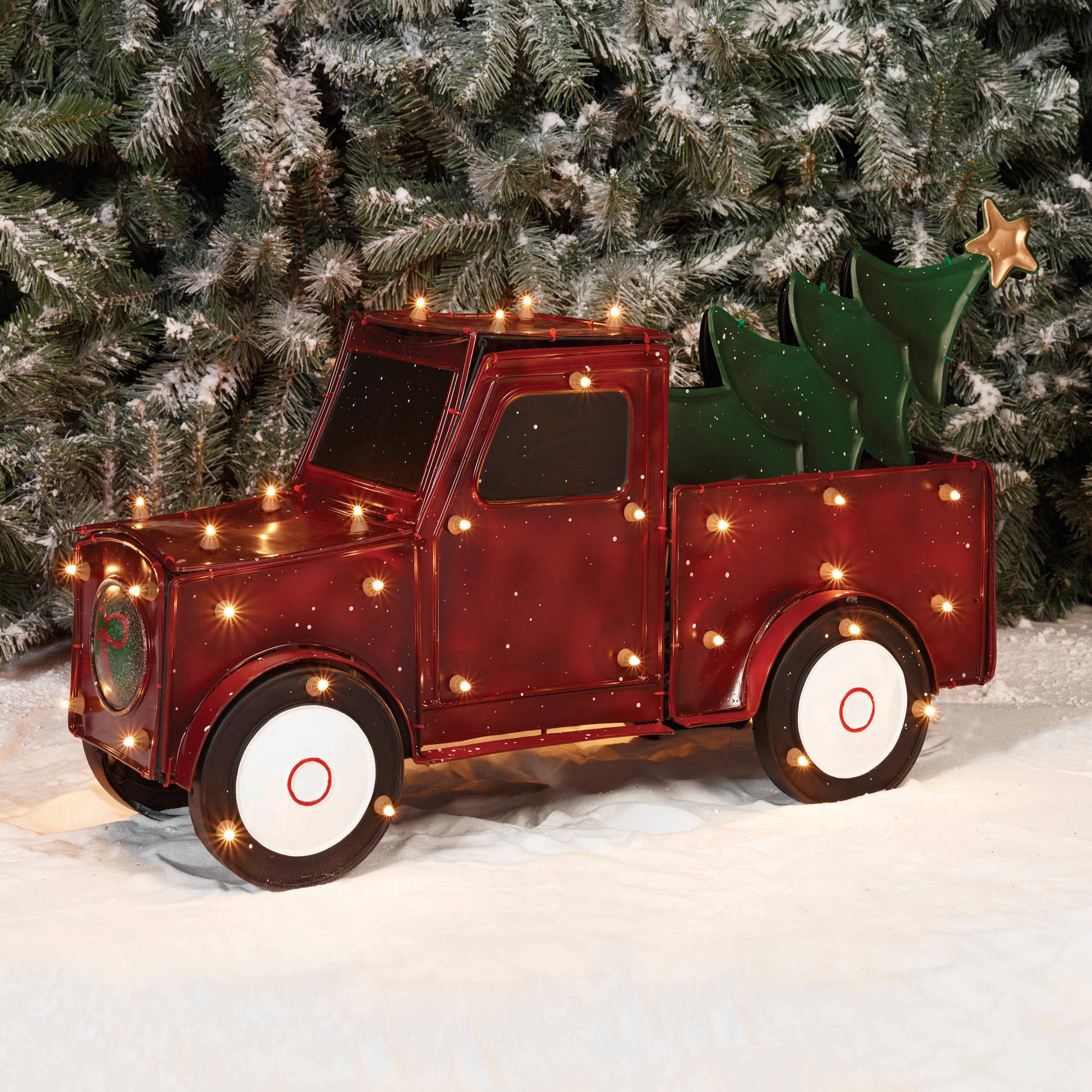 "Holiday Time Christmas Decor 32"" 3D Metallic Truck with Tree Sculpture"