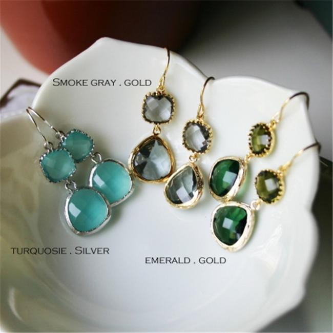 Rebecca GDEGE Gemstone Dangle Earrings - Gold Emerald