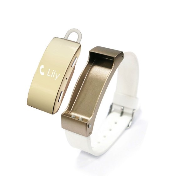 A Unity System AUSK2-MCB-90 Smart Watch Bracelet with Removable Bluetooth Headset, White/Rose Gold