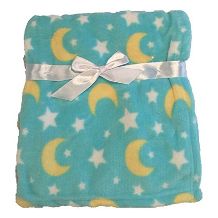In Obeytions Cuddly Soft Plush Fleece Baby Blanket Turquoise Blue