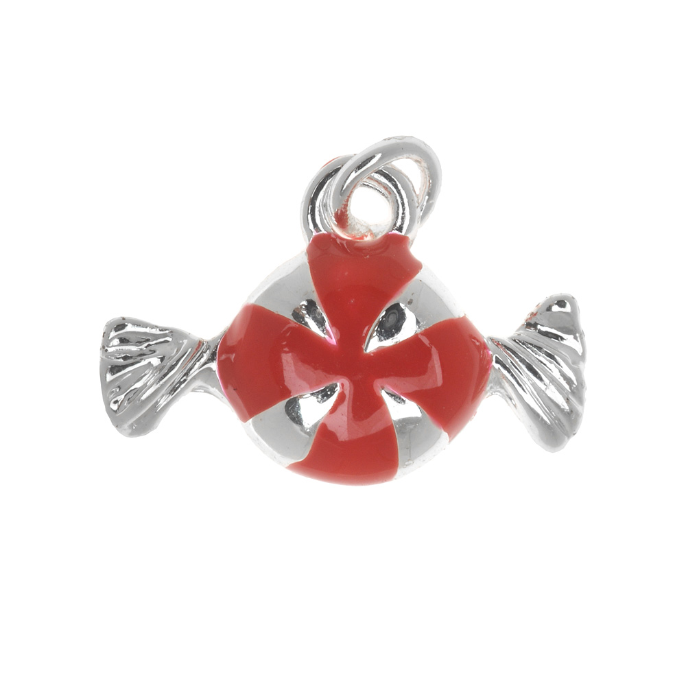 Silver Plated Enamel Charm Red Peppermint Candy 16mm (1)
