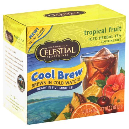 Celestial Seasonings Iced Herbal Tea Caffeine Free Tropical Fruit 40 Tea Bags