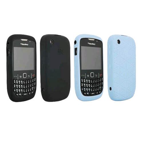 Black & Frost Blue OEM BlackBerry Embossed Skin Gel Case for 8520 8530 Curve2 9300 9330 Curve 3G, (2 Pack)